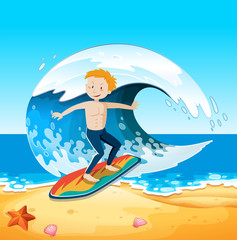 A Young Surfer at Beach Scene