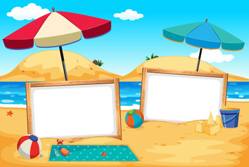 Whiteboard Banner at the Beach Scene