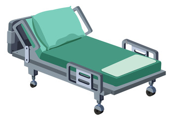 A Modern Hospital Bed on White Background