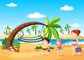 Beach Scene with Hammock