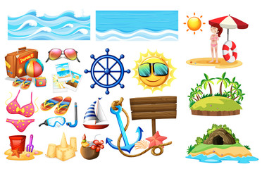 A Set of Summer Beach Vacation