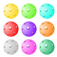 Set of nine pickleball and floorball balls
