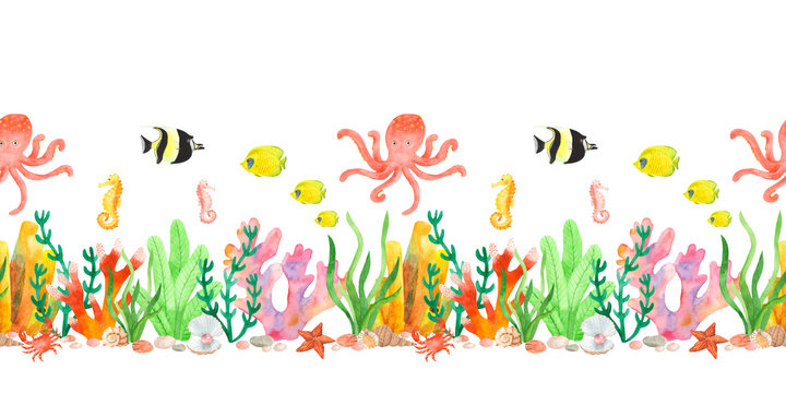 Sea underwater pattern in watercolor. Seamless border with octopus, fish, seahorses, algae, corals, crab, sea star.
