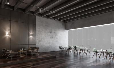 Design of modern office. Mixed media