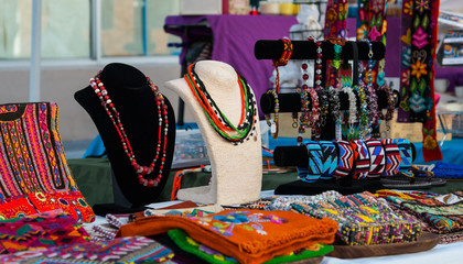 Art and craft artisan market display with clothes and jewelry