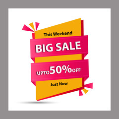 Big Sale, this weekend special offer banner, Discount flyer. Vector