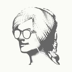 Portrait of a lady in sunglasses. Vintage engraved illustration