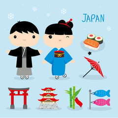 Japan Tradition Food Place Travel Asia Mascot Boy and Girl Cartoon Element Vector