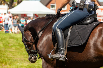 German police horsewoman rides on a police horse