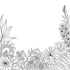 Line art deisign of tropical flowers and leaves with copy space for design element and coloring book page. Vector illustration