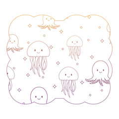 decorative frame with jellyfish and octopus pattern, vector illustration