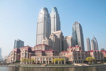 Cityscape of Tianjin, China Papier Peint