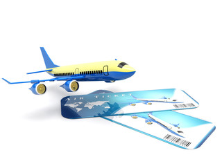 Air Travel Concept. Cartoon Toy Jet Airplane with Airline Boarding Pass Tickets on a white background. 3d Rendering