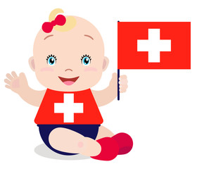 Smiling baby toddler, girl holding a Switzerland flag isolated on white background. Vector cartoon mascot. Holiday illustration to the Day of the country, Independence Day, Flag Day.