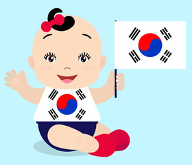 Smiling baby toddler, girl holding a South Korea flag isolated on white background. Vector cartoon mascot. Holiday illustration to the Day of the country, Independence Day, Flag Day.