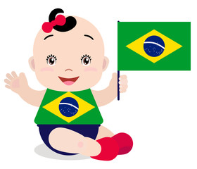 Smiling baby toddler, girl holding a Brazil flag isolated on white background. Vector cartoon mascot. Holiday illustration to the Day of the country, Independence Day, Flag Day.