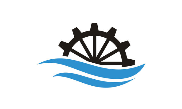 River Creek Water Mill, Ocean Sea Wave Cog Wheel Gear logo design inspiration