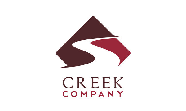 Winding Road Street Sign, River Creek logo design inspiration