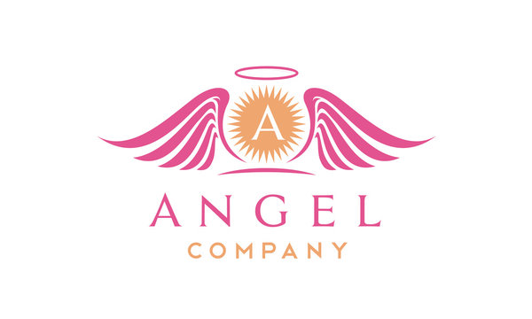 Morning Sun Rays and Angel Wings with Halo logo design inspiration