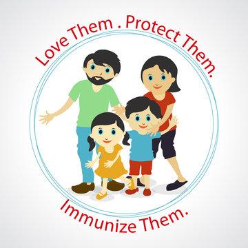Vector image of syringe and vaccine. World Immunization Week