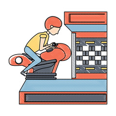 boy playing on motorcycle arcade machine icon over white background, vector illustration