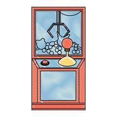 claw arcade machine icon over white background, vector illustration