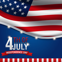 Independence day background, 4th of July. Banner on top of American flag
