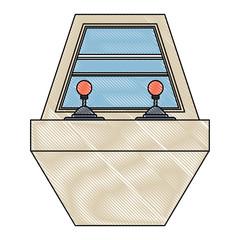 arcade machine icon over white background, vector illustration