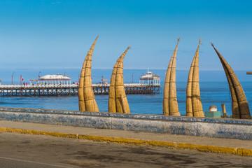 View of Huanchaco beach in Trujillo, Peru.