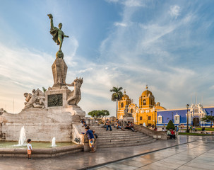 View of main square of Trujillo city, Peru.