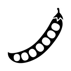 Peas in a peapod or pea pod flat vector icon for food apps and websites