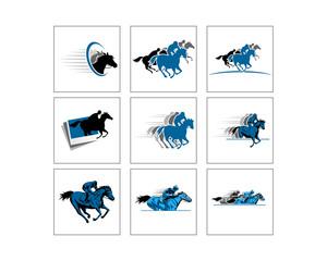 blue silhouette of riding stallion horse races logo icon image set
