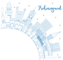Outline Kaliningrad Russia City Skyline with Blue Buildings and Copy Space.