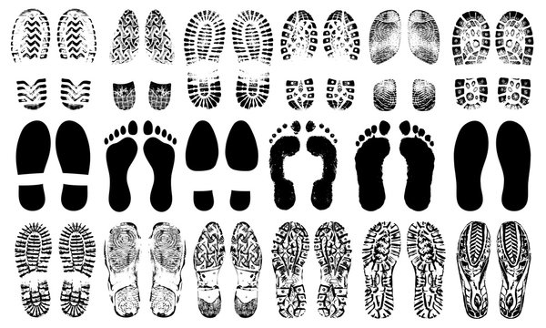 Footprints human shoes silhouette, vector set, isolated on white background. Shoe soles print. Foot print tread, boots, sneakers. Impression icon barefoot