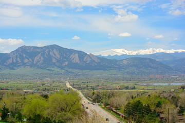 Boulder, Colorado and the Flatirons Mountains on a Sunny Day