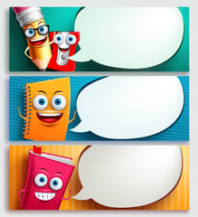 School characters vector banner set with speech bubbles, education items and empty space for text. Educational items cartoon characters vector illustration.