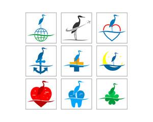 stork egret crane bird standing silhouette vector image icon logo set