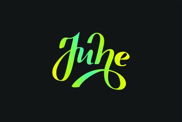 June, July, August summer months handwritten lettering poster. Vector illustration EPS 10.