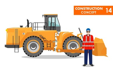 Worker concept. Detailed illustration of workman, driver, miner, builder and wheel dozer in flat style on white background. Heavy mining machine and construction equipment. Vector illustration.
