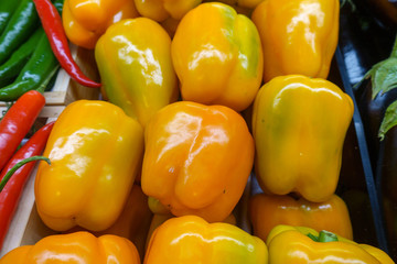 Yellow capsicums in the market.