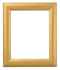 GOLD WOOD PICTURE FRAME ISOLATED ON WHITE BACKGROUND