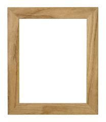 BROWN WOOD PICTURE FRAME ISOLATED ON WHITE BACKGROUND