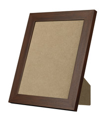 BROW WOOD PICTURE FRAME STANDING UP ISOLATED ON WHITE BACKGROUND