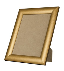 GOLD WOOD PICTURE FRAME STANDING UP ISOLATED ON WHITE BACKGROUND