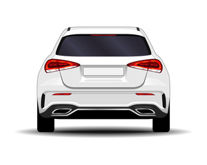 realistic car. hatchback. back view.