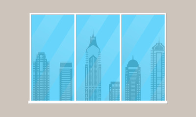 Window with modern city view. Cityscape with skyscrapers. Vector illustration.