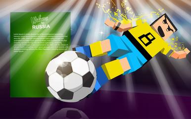 cartoon soccer player slides the ball