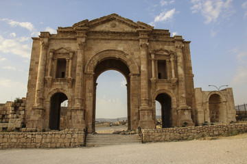 Arch of Hadrian of the Ancient Roman city of Gerasa, modern Jerash, Jordan