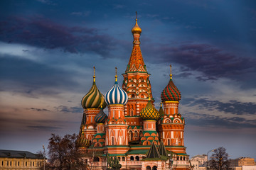Saint Basil's Cathedral on Red Square, Moscow, Russia at sunset with dark colorful sky above