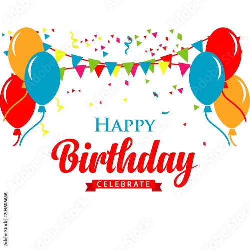 """""""Happy Birthday Logo Vector Template Design Illustration"""" Stock Image And Royalty-free Vector"""